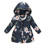 Toddler Kids Girl Flowers Cotton Padded Thicken Warm Hooded Long Outerwear Coats