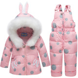 Baby Toddlers Duck Down Puffer Padded Thick Winter Outerwear Rabbits Fur Hooded Coats With Overalls Pant