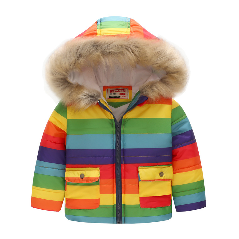 Toddler Kids Girl Boy Rainbow Cotton Padded Thicken Warm Fur Hooded Outerwear Coats