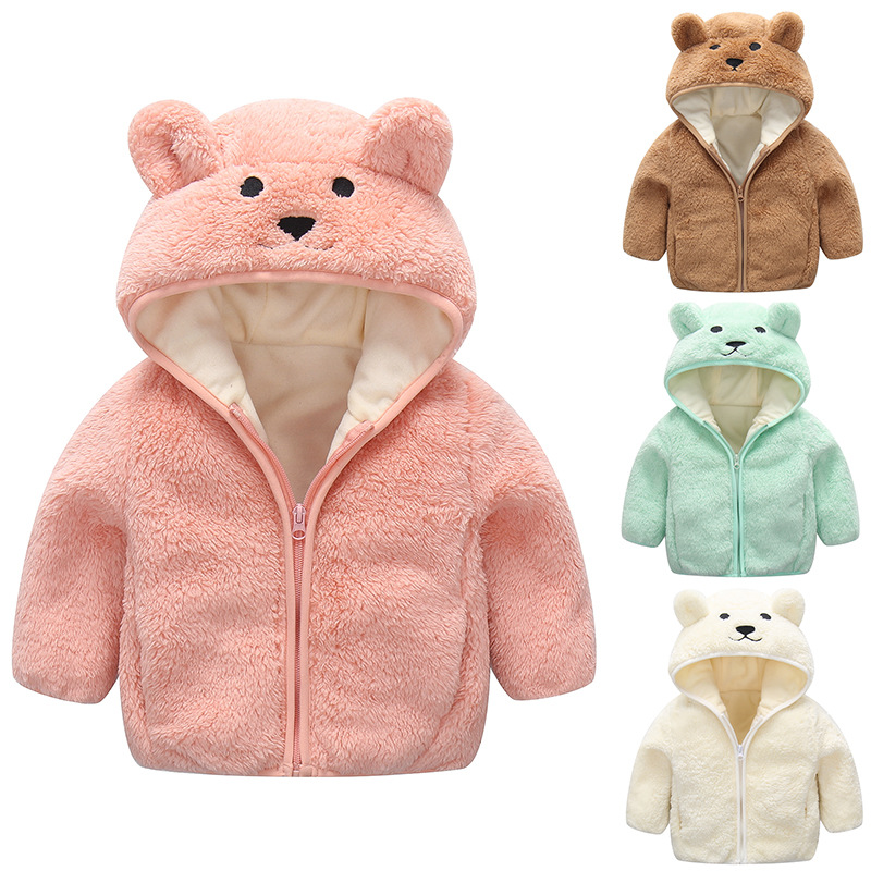 Toddler Kids Boy Girl Polar Fleece Cute Bear Hooded Zipper Outerwear Coats