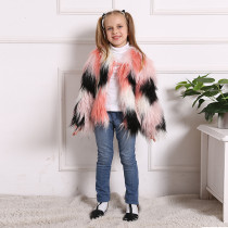 Toddler Kids Girl Plush Faux Fur 5 Colors Stitching Thick Warm Coats Outerwears