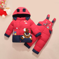 Baby Toddlers Duck Down Puffer Padded Thick Winter Outerwear Ears Hooded Coats With Overalls Pant