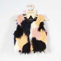 Toddler Kids Girl Plush Faux Fur 6 Colors Stitching Thick Warm Vest Coats Outerwears