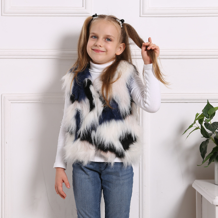 Toddler Kids Girl Plush Faux Fur Colors Stitching Thick Warm Vest Coats Outerwears