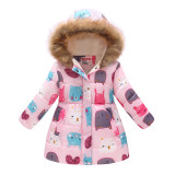 Toddler Kids Girl Cats Cotton Padded Thicken Warm Fur Hooded Long Outerwear Coats