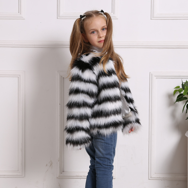 Toddler Kids Girl Plush Faux Fur Black Stripes Thick Warm Coats Outerwears
