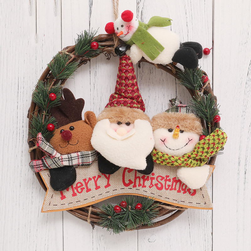 Classic Christmas Wreath Doll for Front Door Artificial Christmas Garland Home Decoration