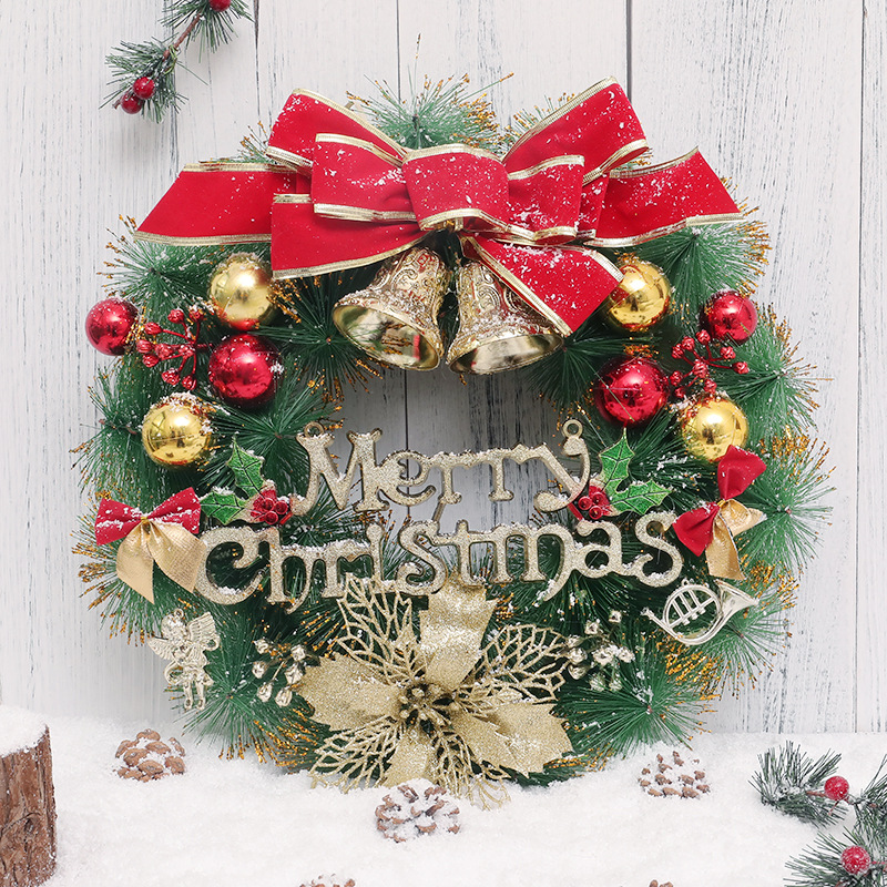 Classic Christmas Wreath Jingle Bell Red Bowknot for Front Door Artificial Christmas Garland Home Decoration