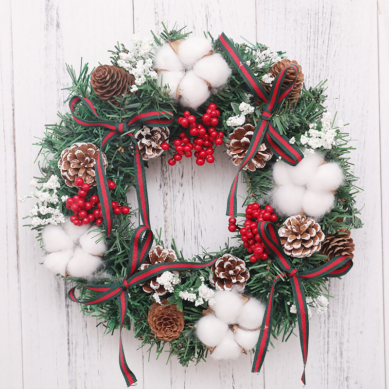 Classic Christmas Wreath Berries for Front Door Artificial Christmas Garland Home Decoration
