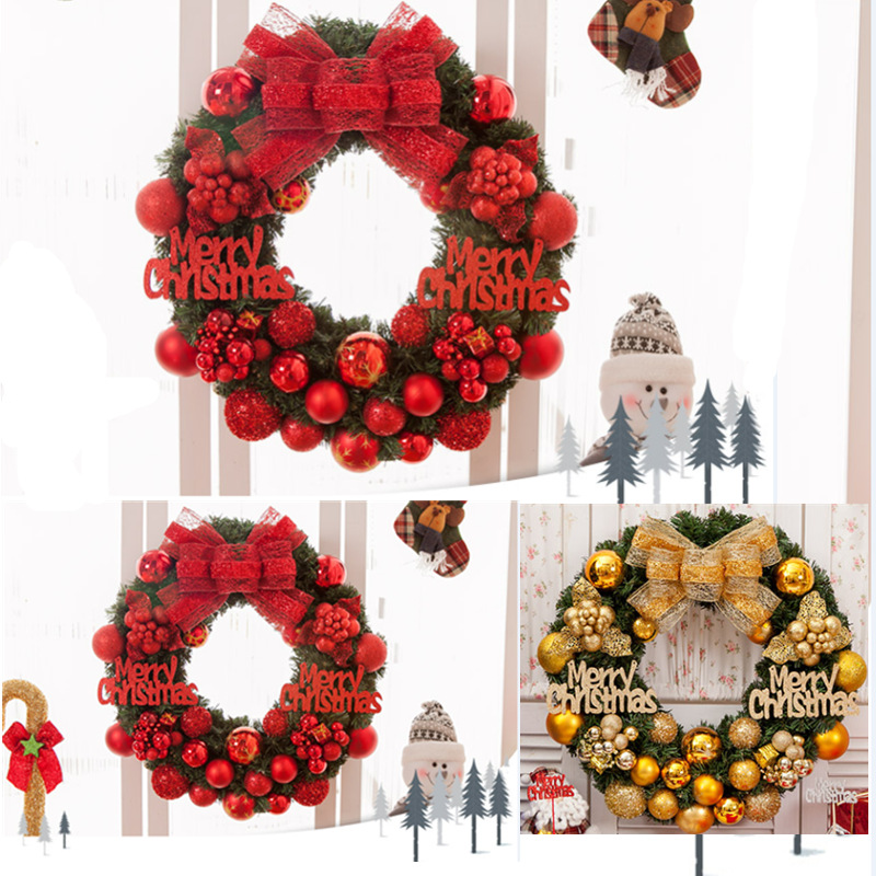 Classic Christmas Wreath Balls for Front Door Artificial Christmas Garland Home Decoration