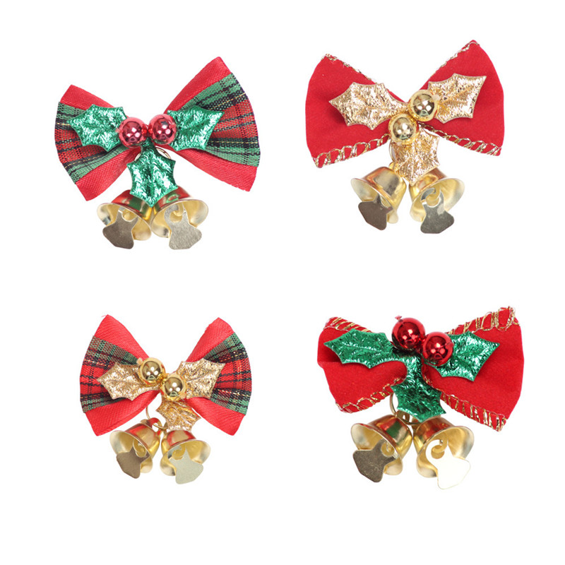 2in Classic Christmas Mini Bowknot Jingle Bell Christmas Tree Hanging Decoration