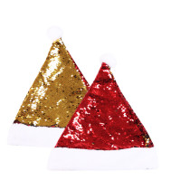 Christmas Hats Double Faced Sequins Velvet Hats With White Cuffs