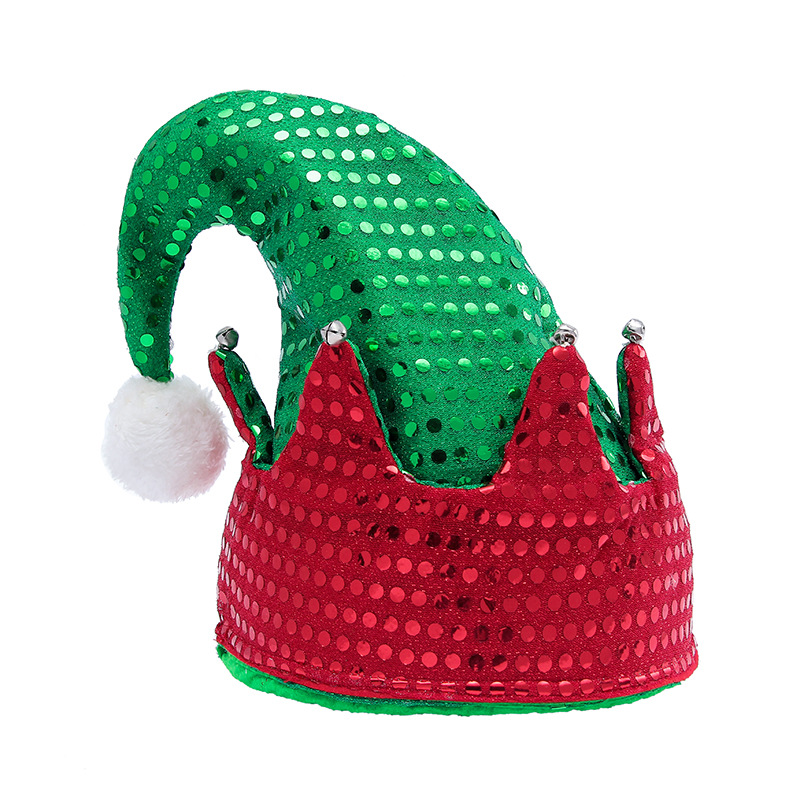 Christmas Hats Sequins ELF Green Velvet Hats With White Cuffs