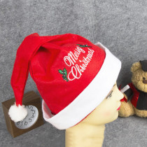 Christmas Hats Embroidery Merry Christmas Red Velvet Hats With White Cuffs