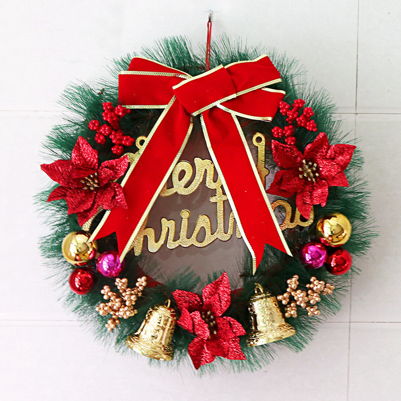Classic Christmas Wreath Bowknot Balls for Front Door Artificial Christmas Garland Home Decoration