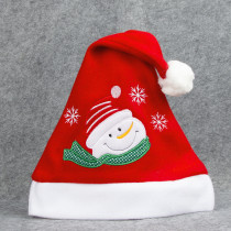 Christmas Hats Embroidery Snow Man Deer Santa Claus Red Velvet Hats With White Cuffs