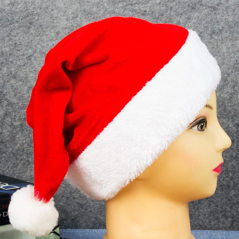 Christmas Hats Plush Red Velvet Santa Hats With White Cuffs