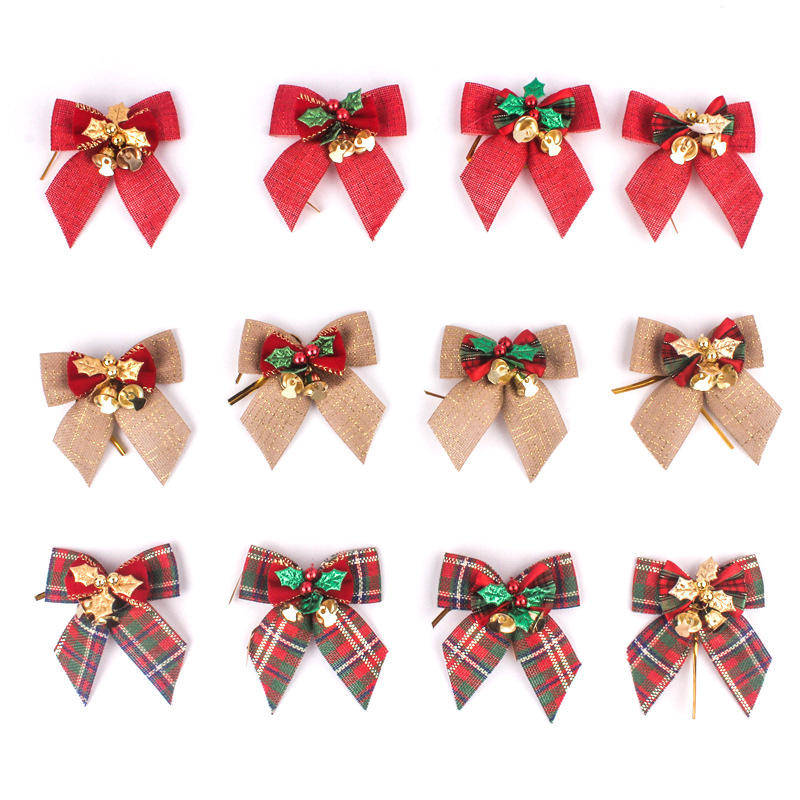 3in Classic Christmas Bowknot Jingle Bell Christmas Tree Hanging Decoration