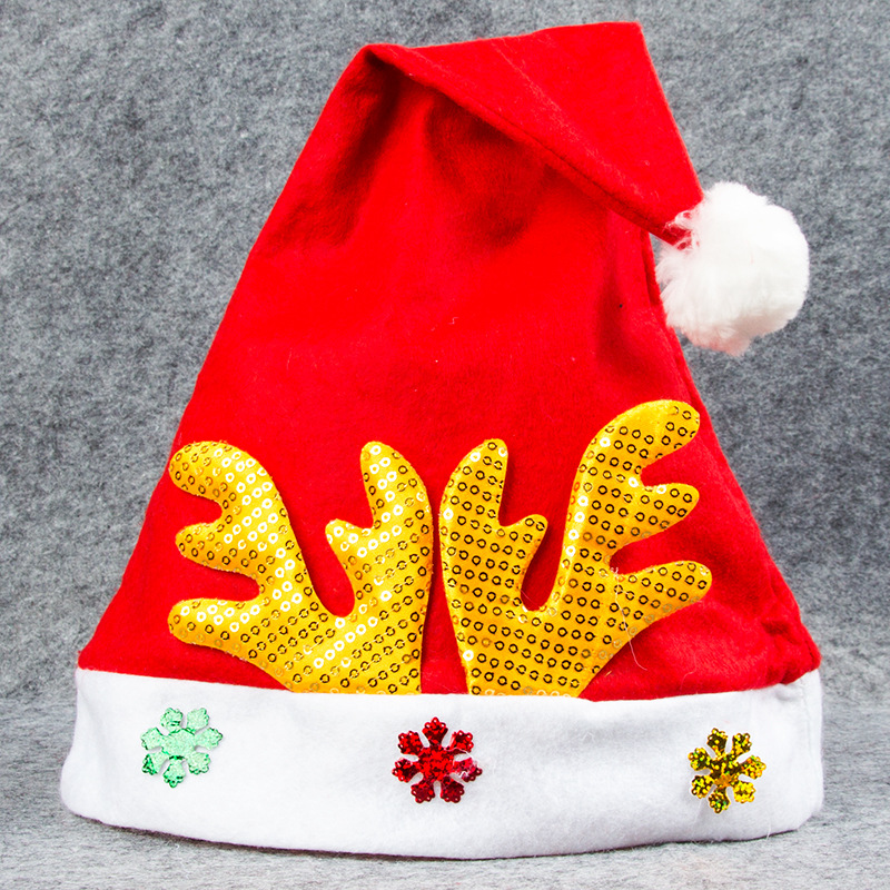 Christmas Hats Sequins Deer Horn Snowflakes Red Velvet Hats With White Cuffs