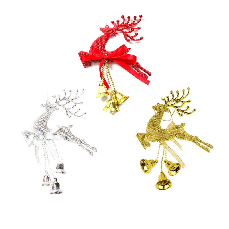 7.8in Christmas Tree Jingle Bell Deer Xmas Hanging Decoration