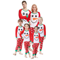 Christmas Family Matching Pajamas Sleepwear Sets Red Snow Man Top and Christmas Trees Pants