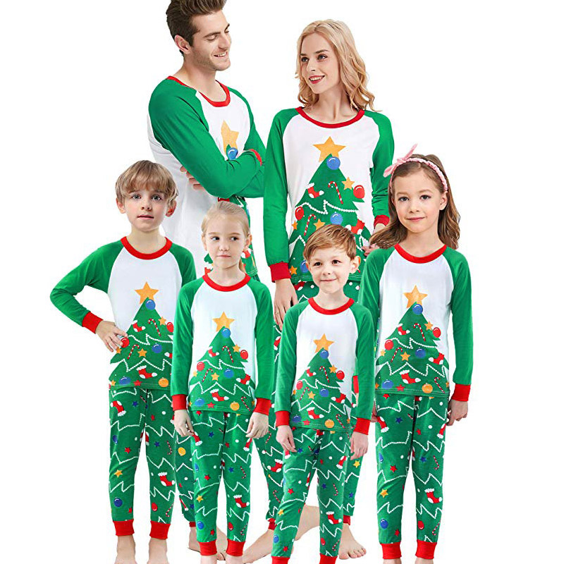 Christmas Family Matching Pajamas Sleepwear Sets Green Christmas Trees Top and Pants