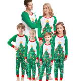 Christmas Family Matching Pajamas Sleepwear Sets Green Christmas Trees Top and Christmas Stocking Pants