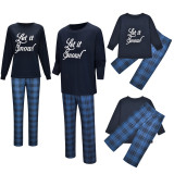 Christmas Family Matching Pajamas Christmas Let It Know Slogan Top and Navy Plaid Pant