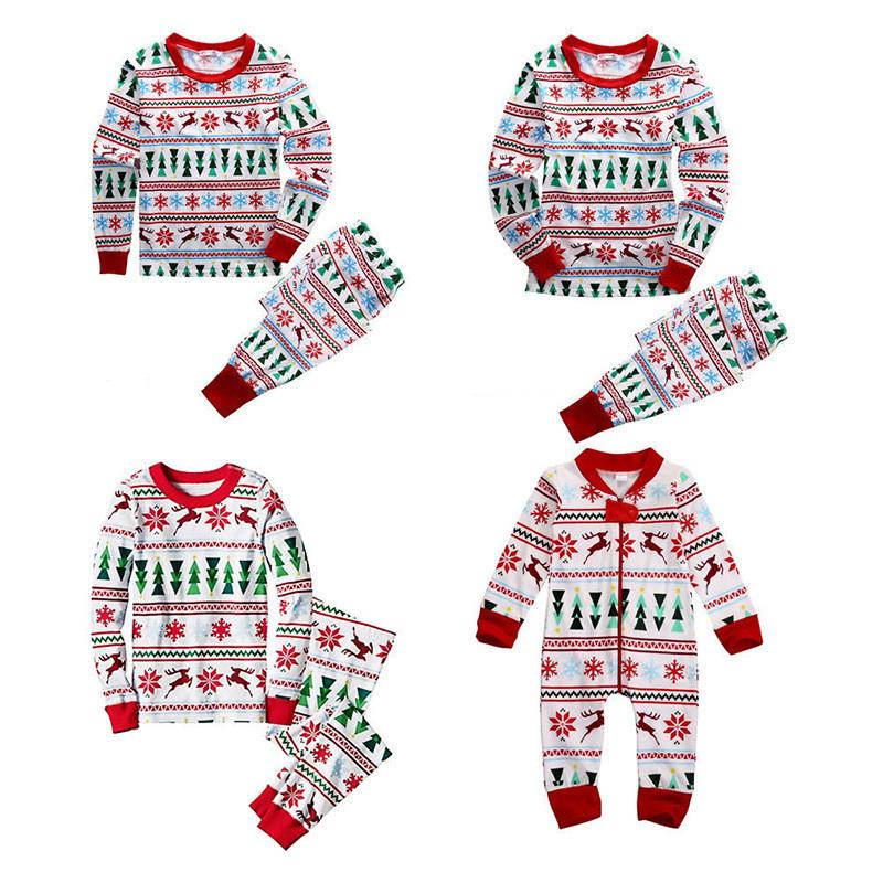 Christmas Family Matching Pajamas Sleepwear Sets Christmas Tree Deer Snowflake Top and Pants