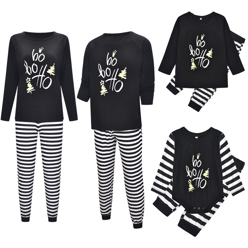 Christmas Family Matching Pajamas Sleepwear Sets Black Slogan Hohoho Top and Stripes Pants