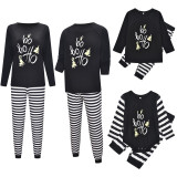 Christmas Family Matching Pajamas Sleepwear Sets Black Slogan Hohoho Top and Stripes Pants