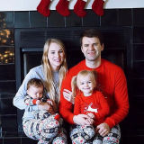 Christmas Family Matching Pajamas Christmas Deer Top and Grey Christmas Tree Snowflake Pant