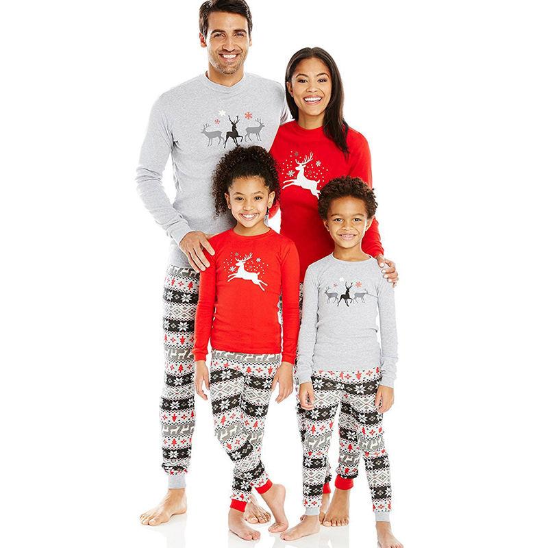 Christmas Family Matching Pajamas Christmas Deer Top and Grey Christmas Tree Snowflake Pant