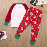 Christmas Family Matching Pajamas Sleepwear Sets Red Snow Man Top and Christmas Trees Pants