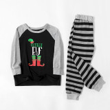 Christmas Family Matching Pajamas Christmas EFL Slogan Top and Grey Stripes Pant