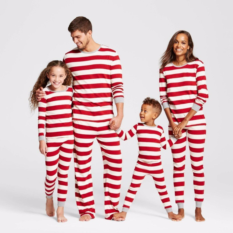 Christmas Family Matching Pajamas Sleepwear Sets Christmas Red Stripes Top and Pants