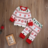 Christmas Family Matching Pajamas Sleepwear Sets Christmas Tree Deer Snowflake Top and Pants