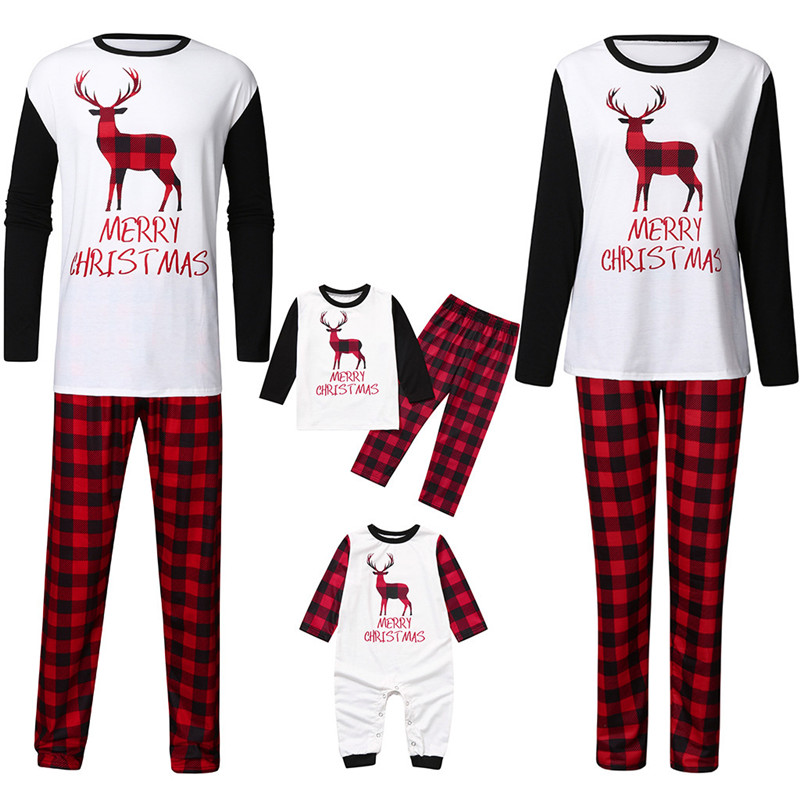Christmas Family Matching Pajamas Sleepwear Sets Christmas Deer Top and Plaids Pants