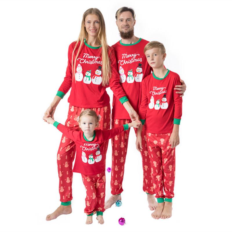 Christmas Family Matching Pajamas Christmas Snow Man Red Top and Pant