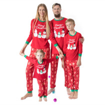 Christmas Family Matching Pajamas Christmas Snow Man Red Top and Pant