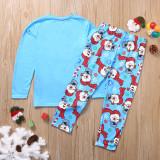 Christmas Family Matching Pajamas Christmas Jolly Snow Man Top and Blue Snowflake Pant
