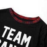 Christmas Family Matching Pajamas Sleepwear Sets Slogan Team Santa Top and Plaids Pants