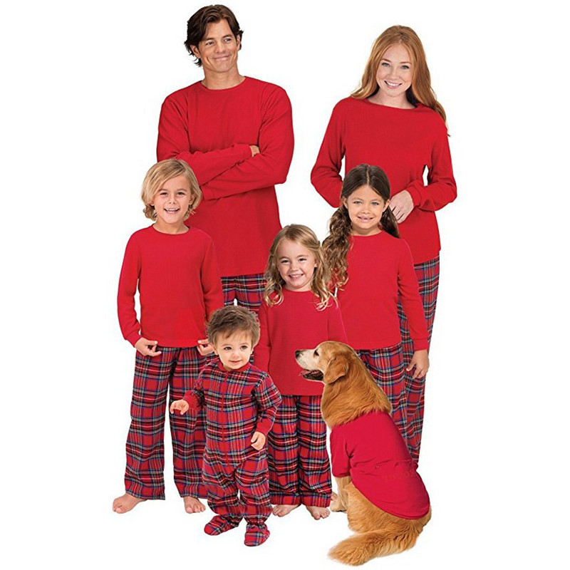 Christmas Family Matching Pajamas Christmas Red Top and Plaids Pant