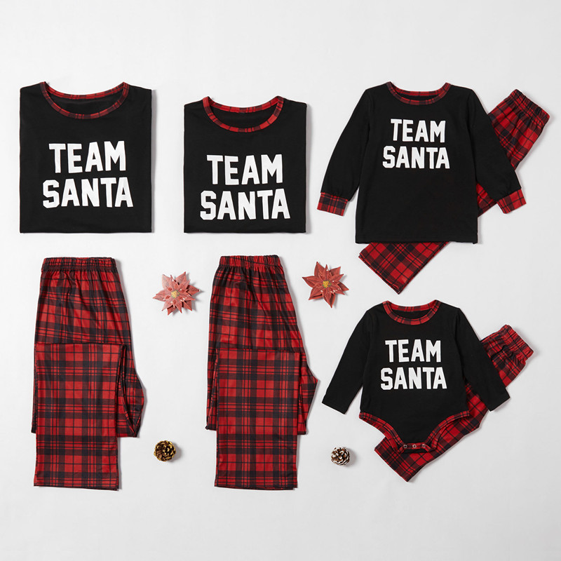 Christmas Family Matching Pajamas Sleepwear Sets Slogan Team Santa Top and Plaids Pants