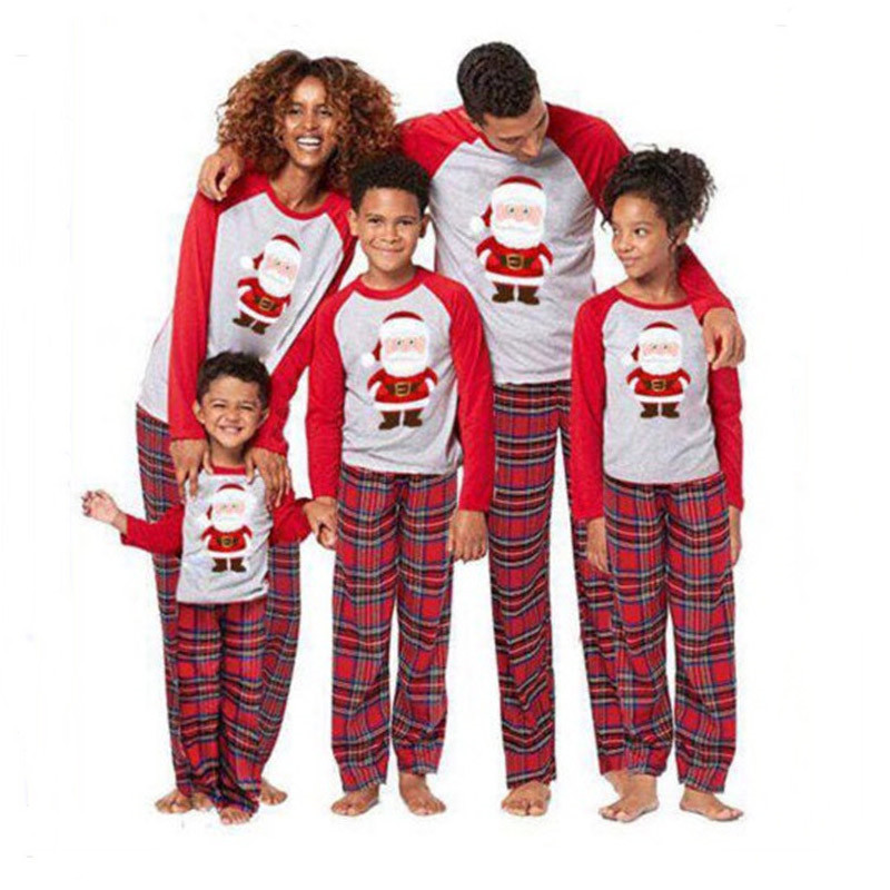 Christmas Family Matching Pajamas Christmas Red Santa Claus Top and Plaid Pant