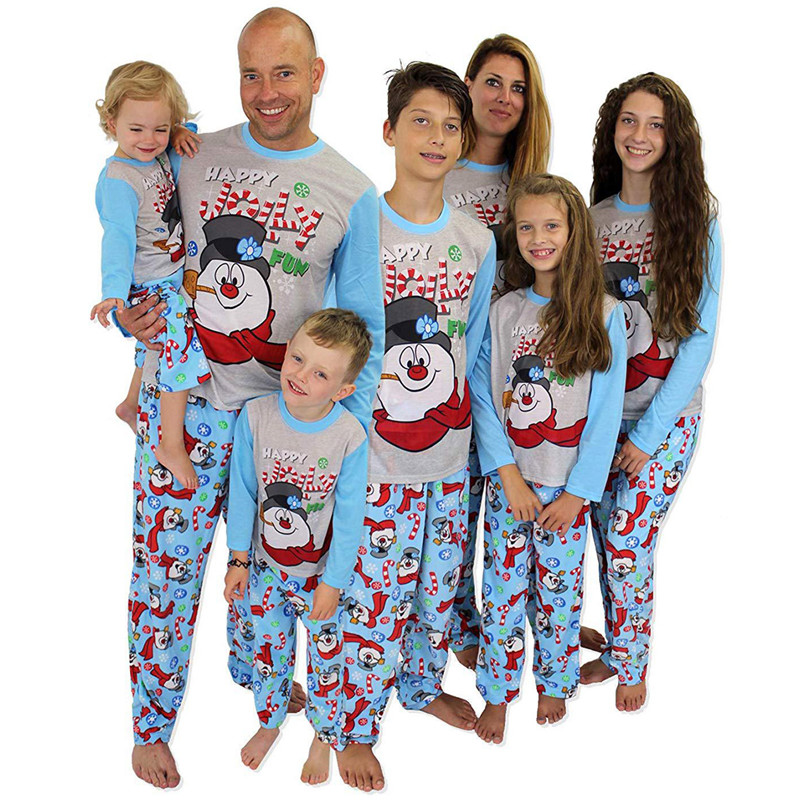 Christmas Family Matching Pajamas Christmas Jolly Snow Man Top and Blue Snowflake Pant