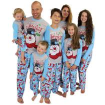 Christmas Family Matching Pajamas Christmas Blue Jolly Snow Man Top and Snowflake Pant With Dog Cloth