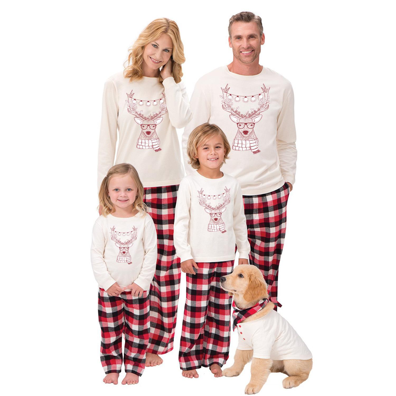 Christmas Family Matching Pajamas Sleepwear Sets Christmas White Deer Top and Red Plaids Pants With Dog Cloth