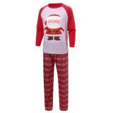 Christmas Family Matching Pajamas Christmas Red Santa Claus Top and Plaid Pant