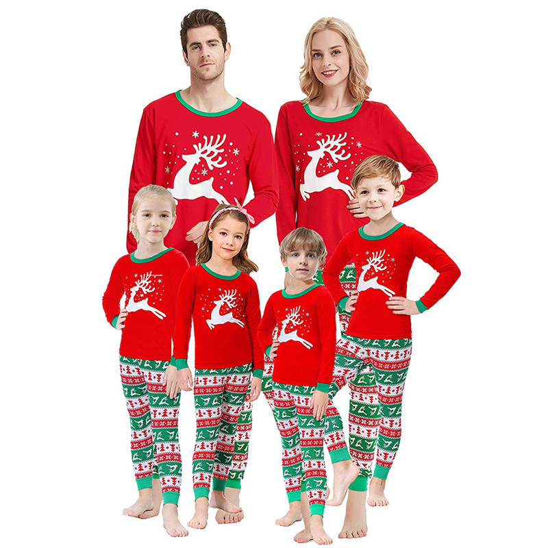 Christmas Family Matching Pajamas Sleepwear Sets Red Deer Stars Top and Christmas Pattern Pants